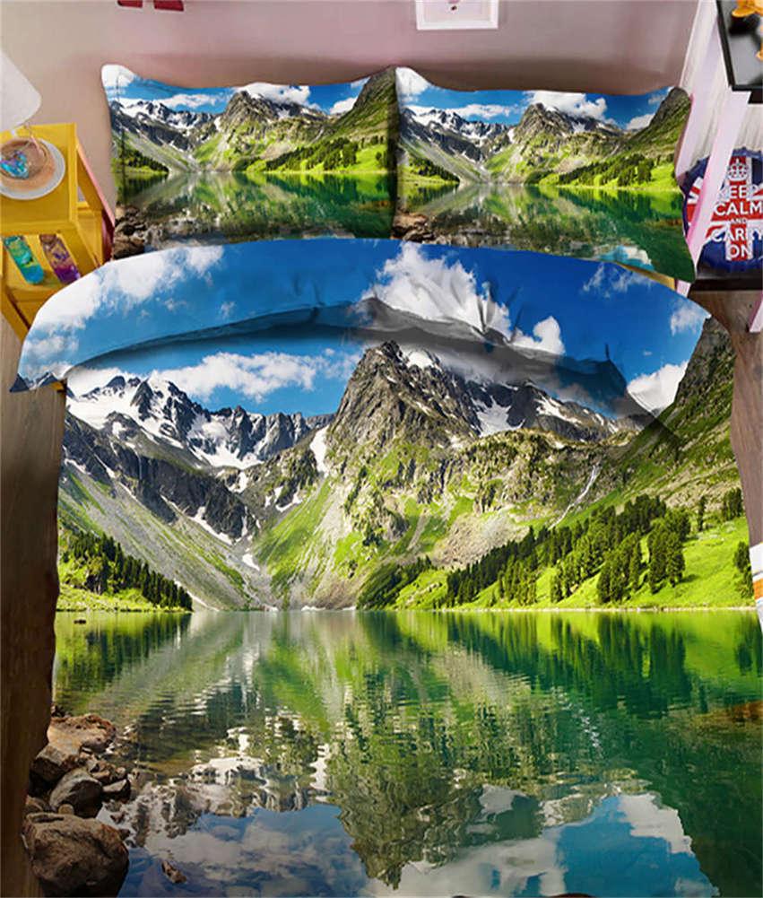 Snow Mountain 3D Printing Duvet Quilt Doona Covers Pillow Case Bedding Sets
