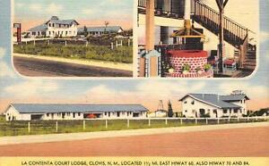 LA-CONTENTA-COURT-LODGE-Clovis-New-Mexico-Roadside-Linen-Postcard-ca-1940s