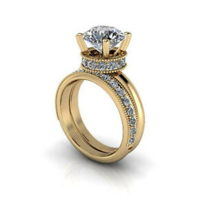 3.04 Ct Round Real Moissanite Anniversary Band Set Solid 18K Yellow Gold Size 8