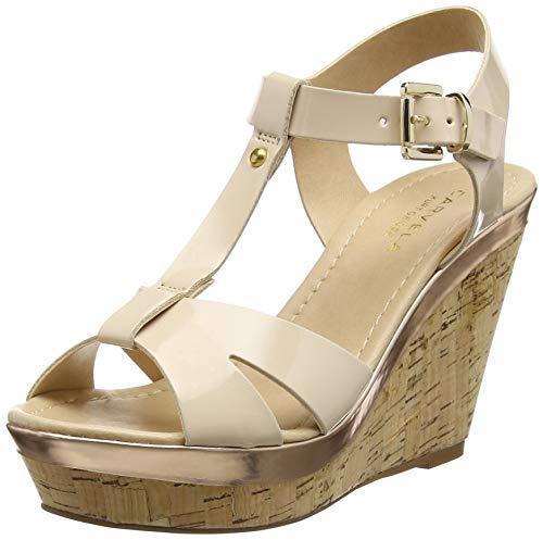 Rp  Carvela kg kabby Taille 8 41 Nude Patent T Bar Haut Compensé Sandales chaussures Nouveau