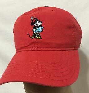 Disney-Minnie-Mouse-Baseball-Cap-Adjustable-Strap-Back-Red-9647
