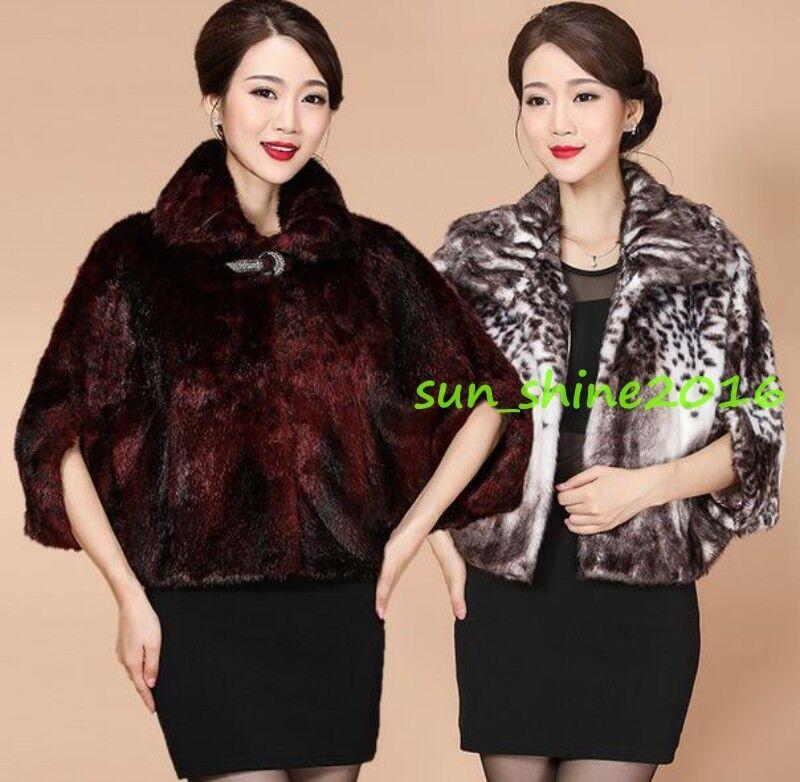 mujer evening cloak cape genuine min fur coat parka  slim outwear winter plus 60  venta caliente en línea