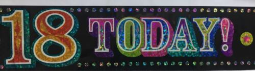 APPROX 3M HAPPY 18 21 30 40 50th  BIRTHDAY BANNER WITH A HOLOGRAPHIC EFFECT