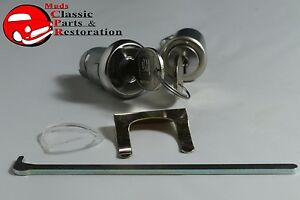 1965-Fullsize-Chevy-Glove-Box-Trunk-Lock-Cylinder-Kit-Later-Round-Head-Keys-New