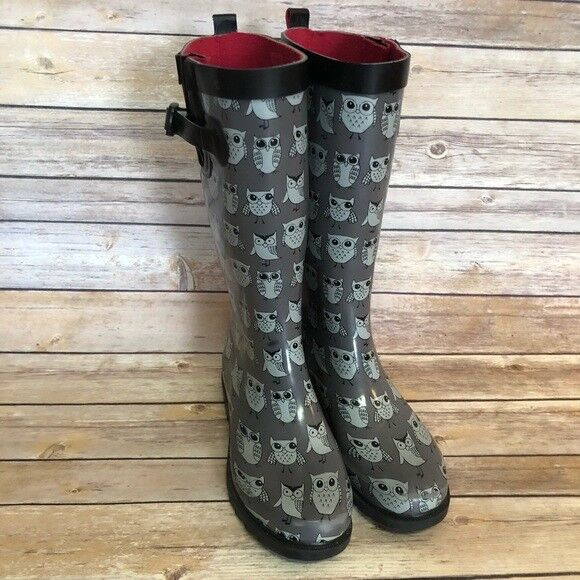 CAPELLI Rain Galoshes Wedges OWL owls Give a HOOT Boots Womens shoes Sz 6 EUC