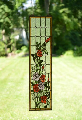 "9/"" x 36/"" Handcrafted stained glass window panel Rose Flowers"
