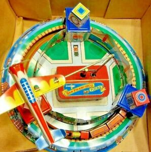 Vintage-Tin-Toy-Litho-with-Trains-amp-Plane-San-Francisco-Tours-Original-Box-New