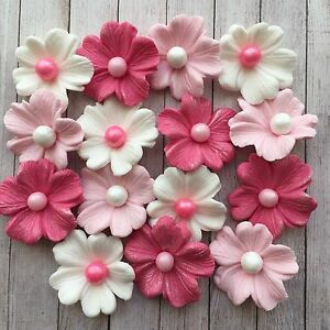 15 Edible Pinkwhite Flowersfondant Cupcake Toppers By Emmawedding