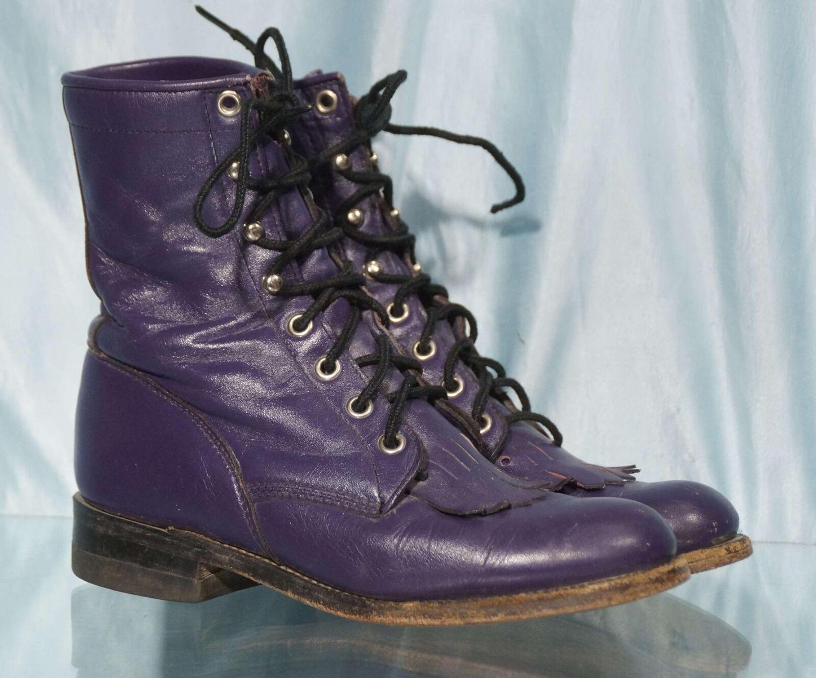 Vintage JUSTIN L0546 Purple Leather Western Kiltie Roper Cowboy Cowgirl Boots 5B