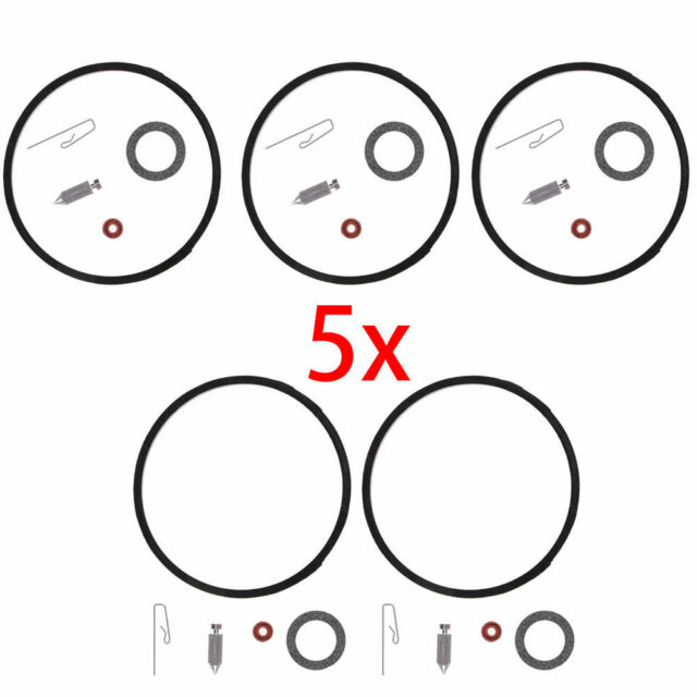 5 Carburetor Carb Needle Seat Bowl Gasket Rebuild Repair Kit Fit
