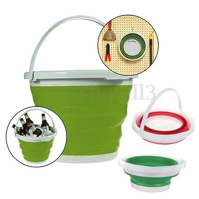 Folding Collapsible Silicone Bucket Outdoor Barrel Fishing Camping Car Tool 5L