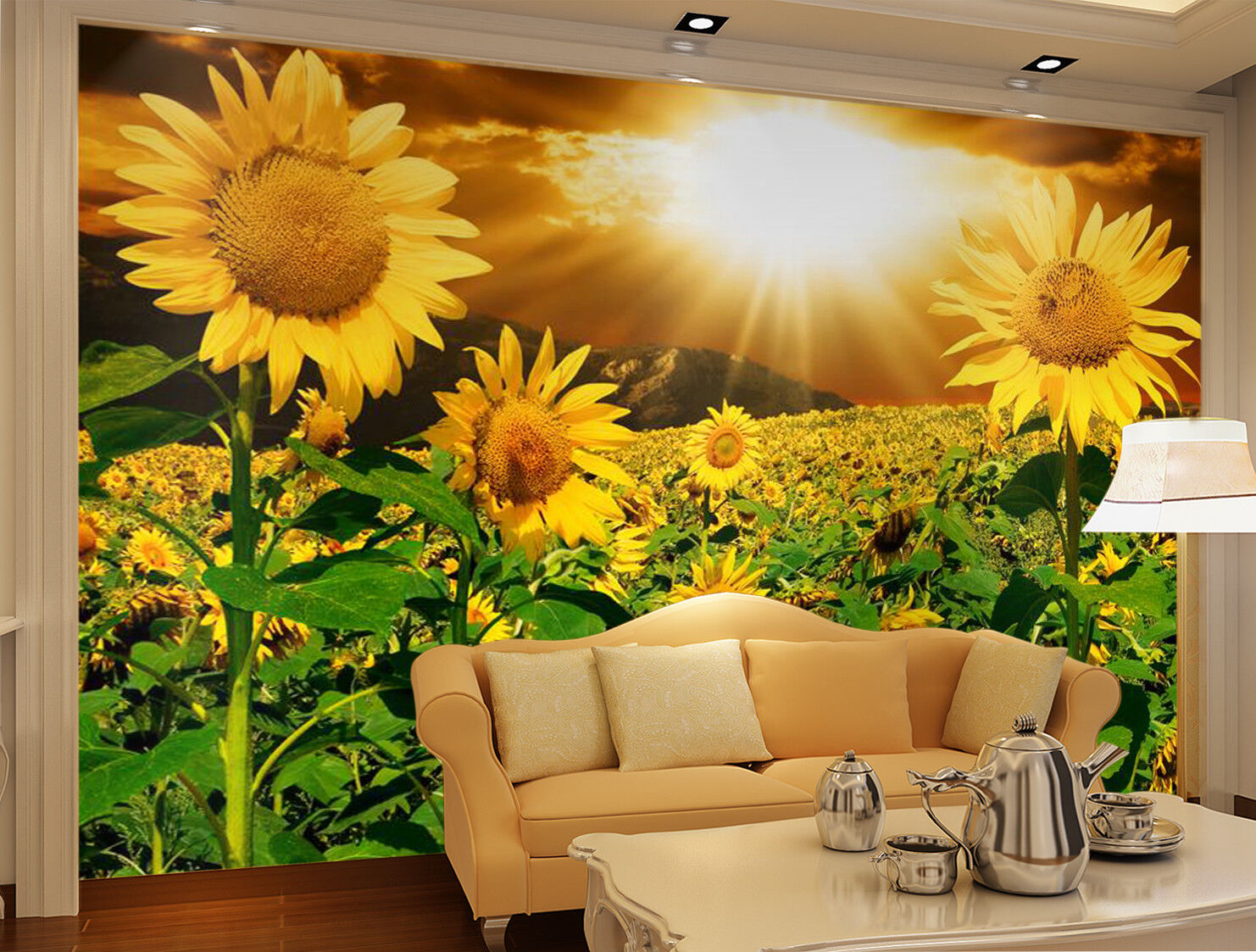 3D Sunflower Sunset 7 Wall Paper Murals Wall Print Wall Wallpaper Mural AU Carly