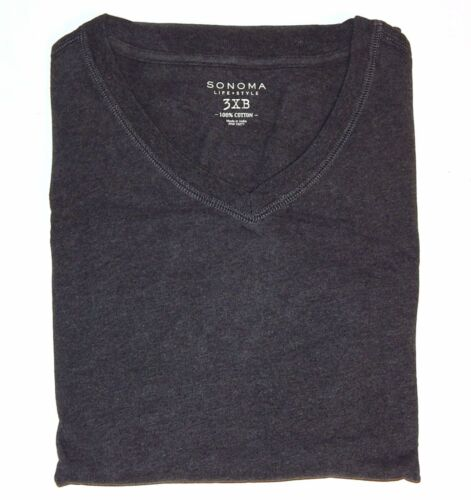 Sonoma Mens Big /& Tall Solid Cotton V-Neck Long Sleeve Everyday Tee Top New $40