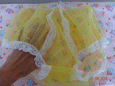 Handmade Granny knickers panties full yellow nylon sheer sissy mens 36 - 44 inch