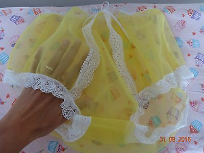 Handmade Granny knickers panties full yellow nylon sheer sissy mens 36 - 44 inch