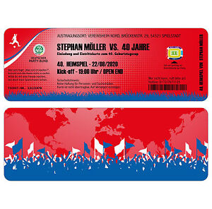 Das Bild Wird Geladen Fussball Ticket Einladungskarten Zum Geburtstag Als  Eintrittskarte Einladung