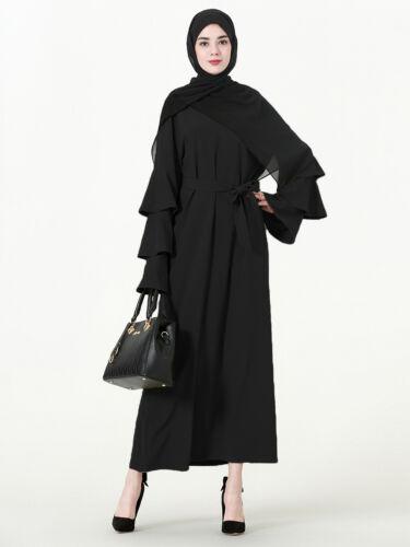 Women Muslim Long Maxi Dress Printed Floral Kaftan Flare Sleeve Islamic Abaya