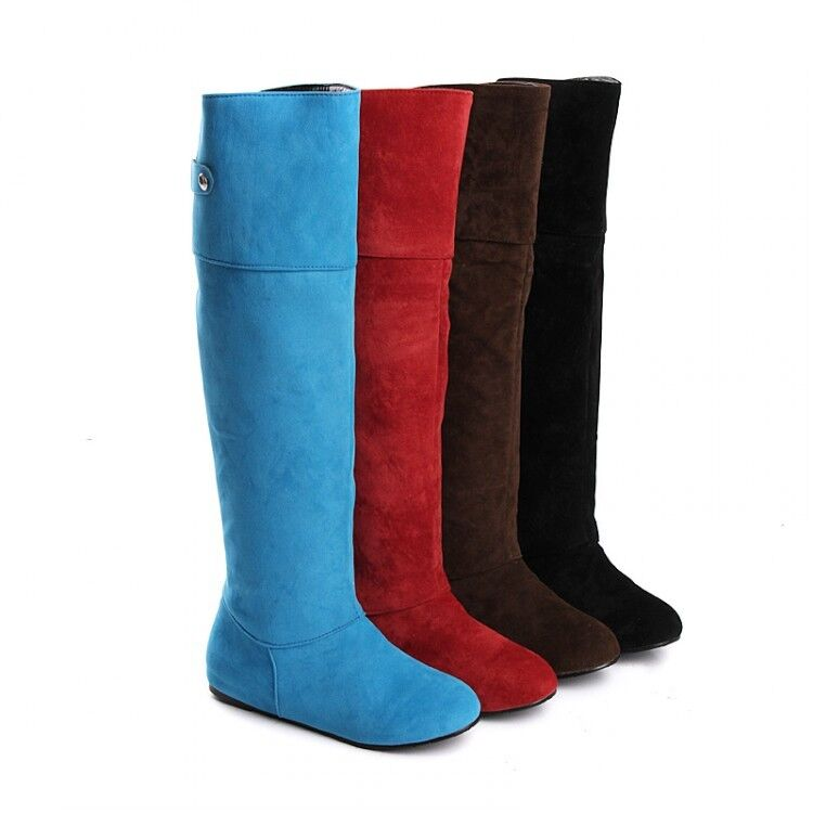 Ladies Faux Suede Knee High Boots Winter Warm Womens Flats Slouch Pull On shoes