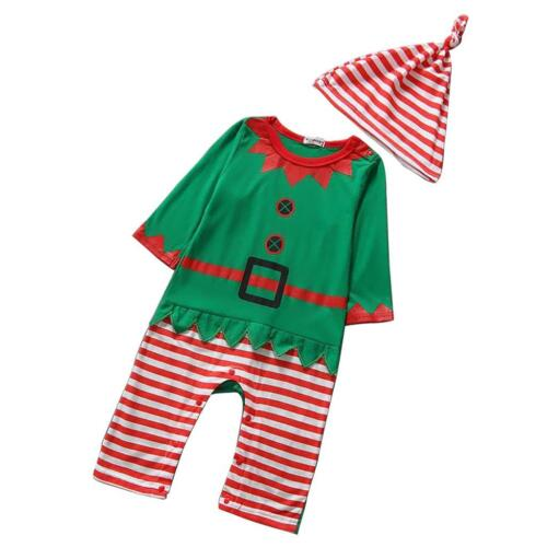 Baby Clothes Outfits Boy Girl Kids Romper Hat Cap Set Christmas Gift
