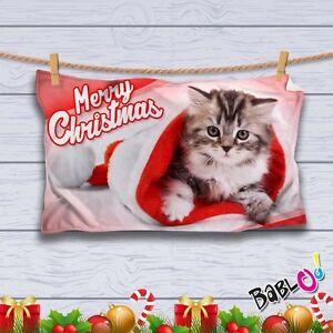 Coperta Personalizzata Con Foto.Dettagli Su Plaid Coperta In Pile Natalizia Regalo Natale Personalizzato Con Foto Gattino