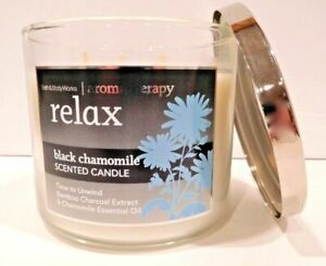 Bath /& Body Works RELAX BLACK CHAMOMILE 3 Wick Jar Candle w// Lid 14.5 oz