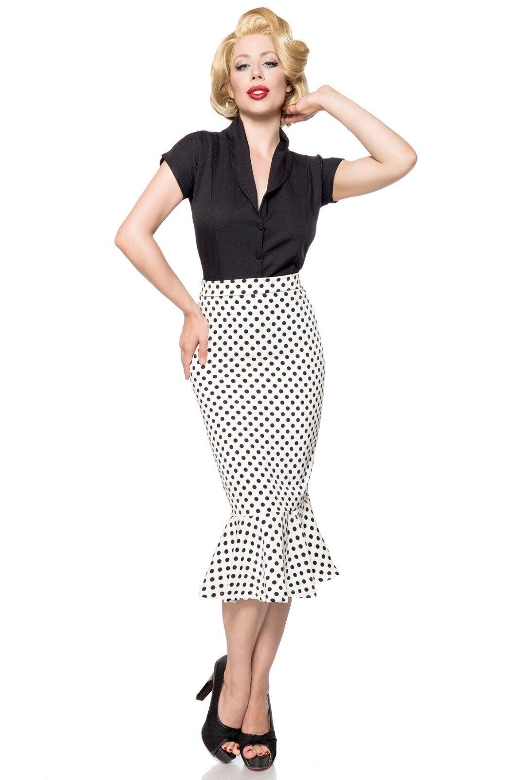Sexy GONNA TUBINO pois black bianco XS,S,M,L,XL,2XL,3XL (da 38 a 50) moda retro