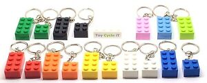 LEGO-Brick-2x4-amp-2x2-Keyring-Keychain-Lots-of-Colours-Party-Bag-3001-NEW