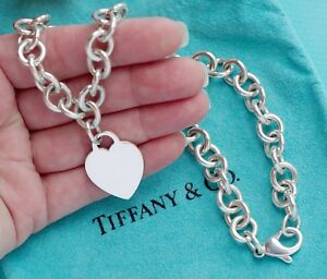 73f9afa03 Tiffany & Co Sterling Silver Plain Heart Tag Charm Choker Necklace ...