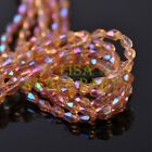 New 100pcs 5X3mm Teardrop Crystal Glass Faceted Spacer Loose Beads Gold Rose