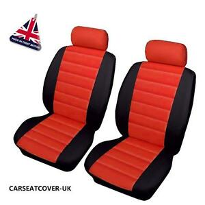 mini cooper s front pair of red leather look car seat covers ebay. Black Bedroom Furniture Sets. Home Design Ideas