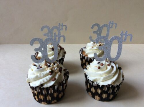 30th Birthday anniversary silver glitter card cup cake toppers on pick x 12