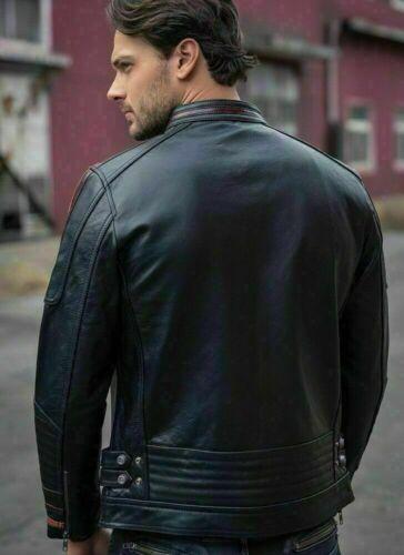 Men/'s Black Lambskin Jacket Cafe Racer Retro Slim fit Biker Real Leather Jacket