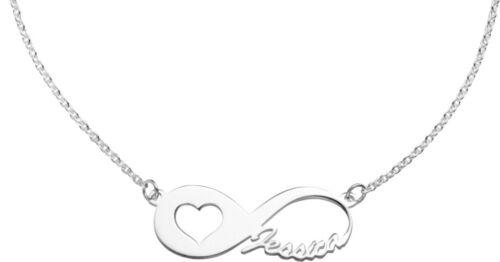 Infinity Wunschname Herz Unendlich Namenskette aus 925// Sterling Silber