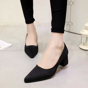Womens-Faux-Suede-Pointed-Toe-Block-Heel-Slip-On-Party-Ladies-Date-Shoes-Size
