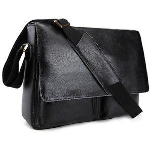 e6907f5c26 Image is loading Real-Leather-Men-Messenger-Shoulder-Bag-Crossbody-Satchel-