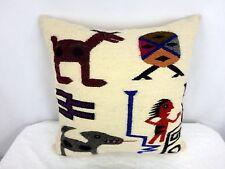 Vtg Native American Pueblo Navajo Wool Needlepoint Pillow Wolf Deer Hunter
