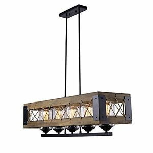 Image Is Loading Kitchen Island Chandelier Pendant Lighting Rustic Wood Frame
