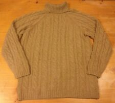 #1064 Lands End 100% Cashmere Turtle Neck Sweater Cable Knit Women M 10-12