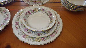 Fine-China-Dinnerware-Lord-Mayfair-by-Embassy-American-CA-1961-14pc-Dessert-Set