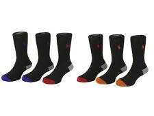 Blk Red//Blk Blue 7-8.5 POLO Ralph Lauren Boy/'s 3 Pair Athletic Crew Socks S