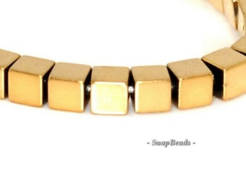"""3MM GOLD HEMATITE GEMSTONE GOLD PERFECT SQUARE CUBE 3MM LOOSE BEADS 15.5/"""""""