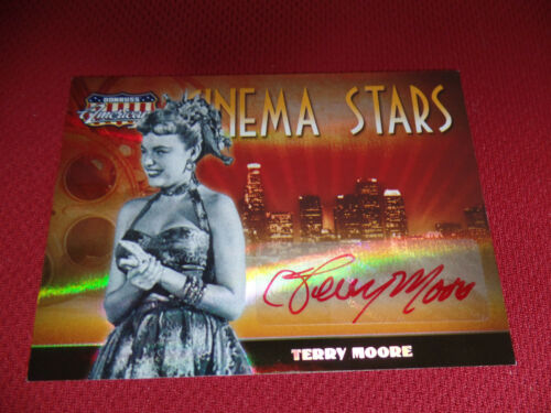 TERRY MOORE //100 RED INK autograph 2008 DONRUSS AMERICANA Celebrity Cuts signed