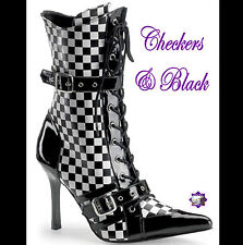 Daring by Pleaser - BLACK & WHITE CHECKS MID CALF BOOTS 3.75