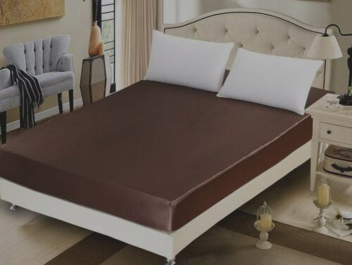 DARK BROWN percale fitted sheet by LoomLands,store leftover,SINGLE  DOUBLE KING