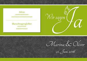 Einladungskarten Hochzeitskarten Grun Grau Floral Blumen