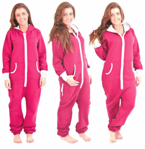 69e8841a97 Adult Womens Onesie Non Footed Jumpsuit ZIPPER Hoodie Playsuit Tracksuit  Pajamas Shocking Pink Small