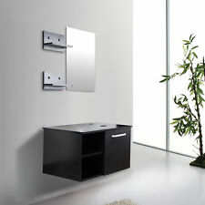 28 Bathroom Vanity Wall Mount Floating Cabinet Sink Mirror Shelf Espresso Black