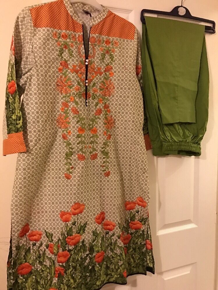 Beautiful Ladies Kurta Large Designer Ethnic Embroidered Peach Green