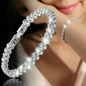 Women-Crystal-Zircon-Bracelet-Bangle-Wedding-Bridal-Wristband-Charm-Jewelry-Gift