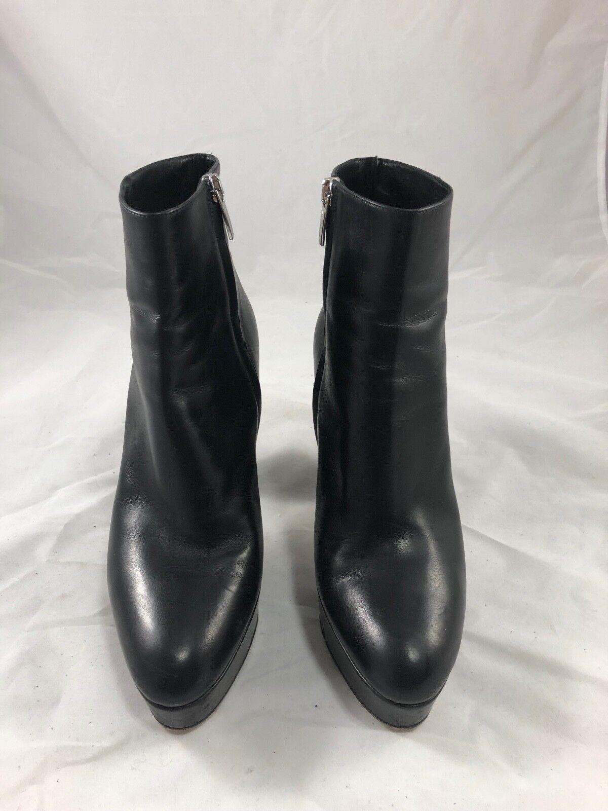 Gianvito Rossi Temple Leather Platform Ankle Boots in Black Black Black Size 38.5 e7d64e